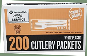 Daily Chef White Plastic Cutlery Packets, 200 Count