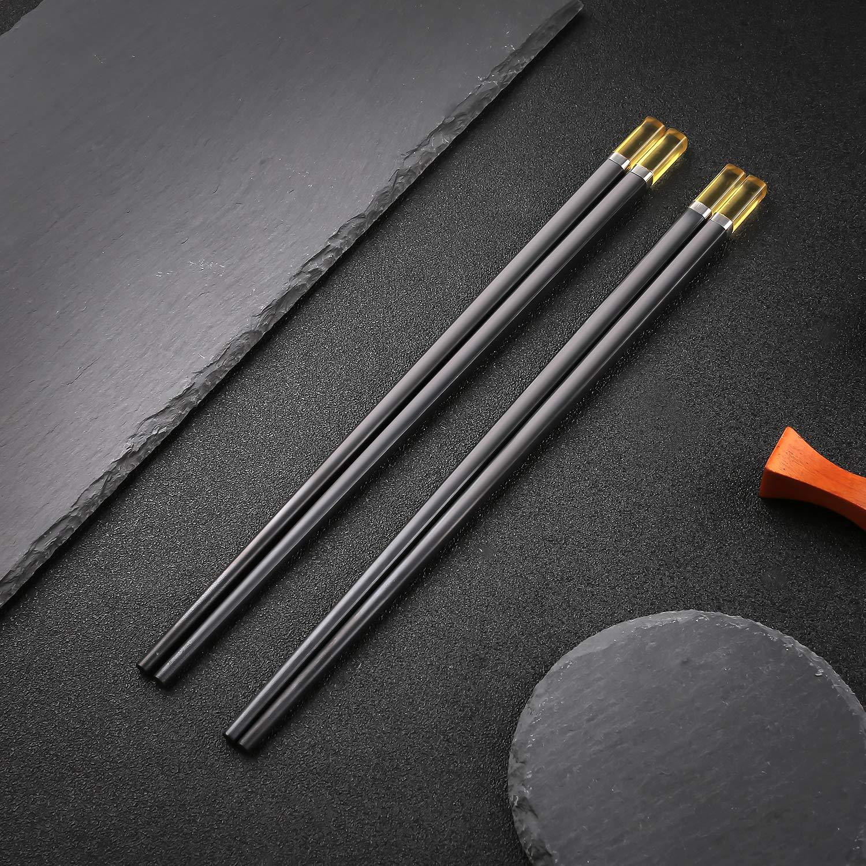 Amazon.com: Juego de 5 pares de palillos de acero inoxidable ...