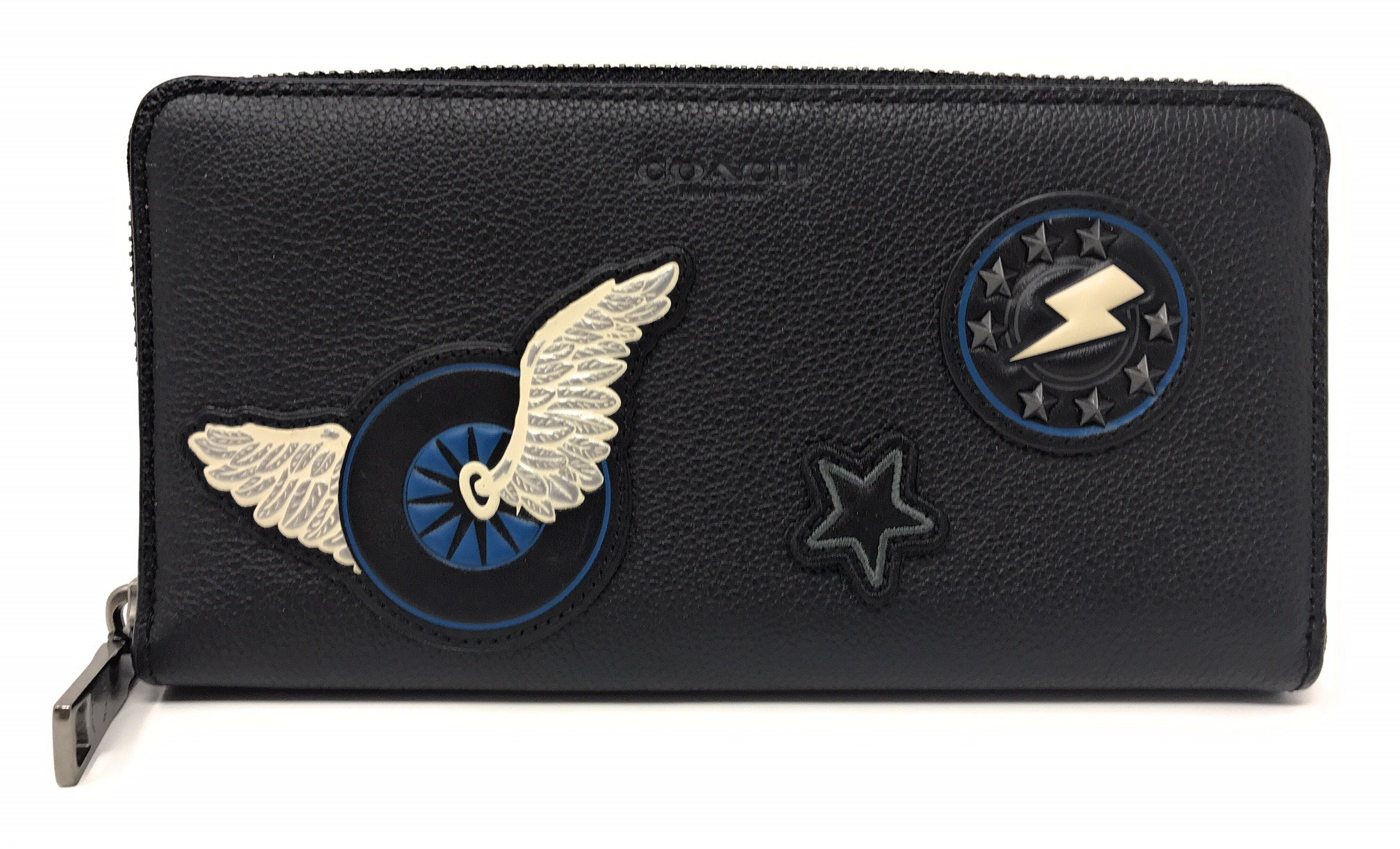 Coach Accordion Wallet in Leather with Varsity Patches Black
