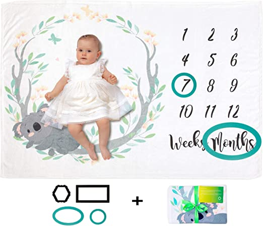 Thick Soft Personalized Shower Gifts New Moms Unisex Month Blanket Baby for Pictures Baby Monthly Milestone Blanket Girl Or Boy Track Growth /& Age Large