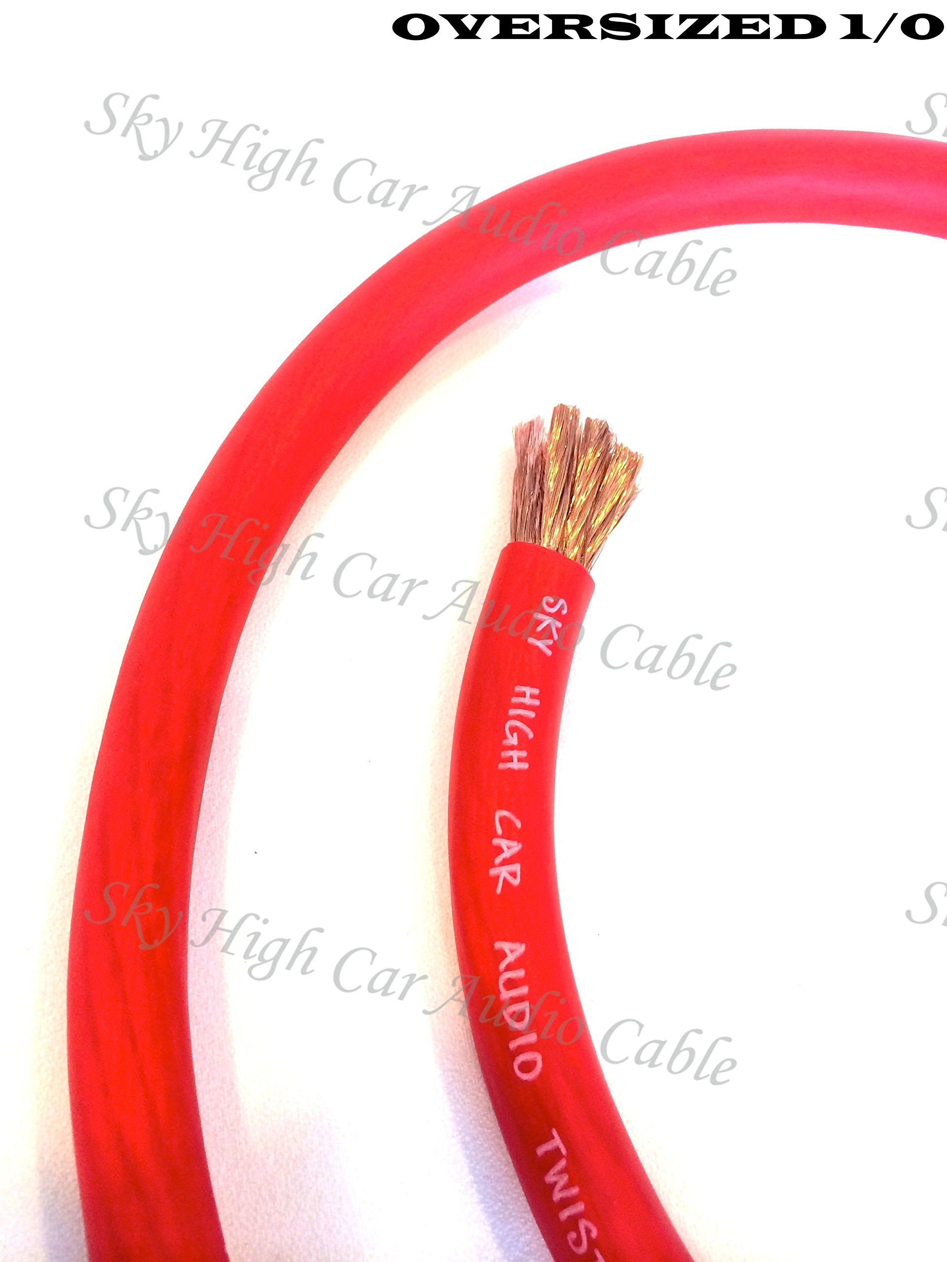 5 ft CCA 1/0 Gauge Oversized RED Power Ground Wire Sky High Car Audio