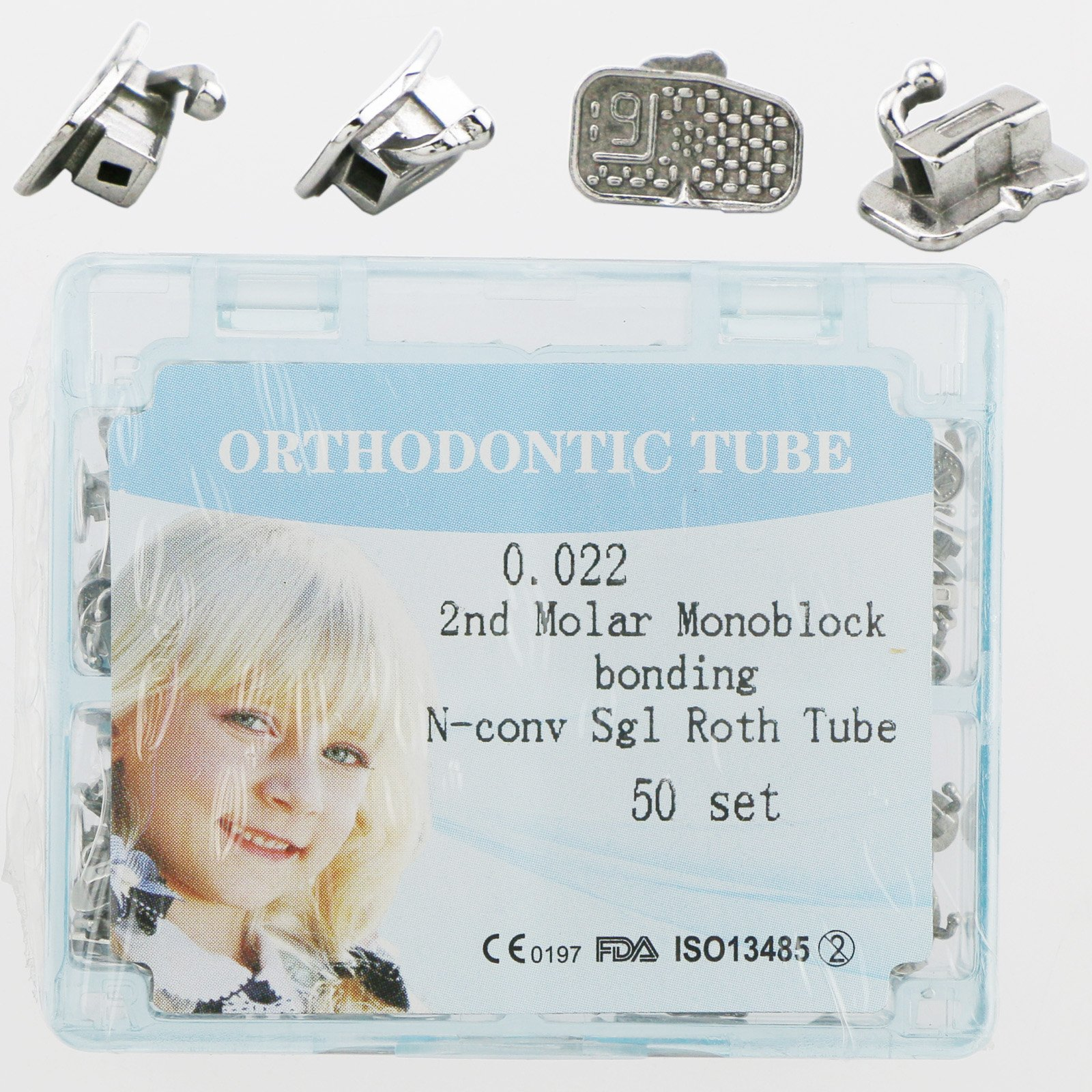 200 Pieces of Orthodontic Tubes the Second Molar Dental Roth 0.022 Bonding non-convertible Monoblock Single Buccal tubes 50 Sets (FDA PROVED)