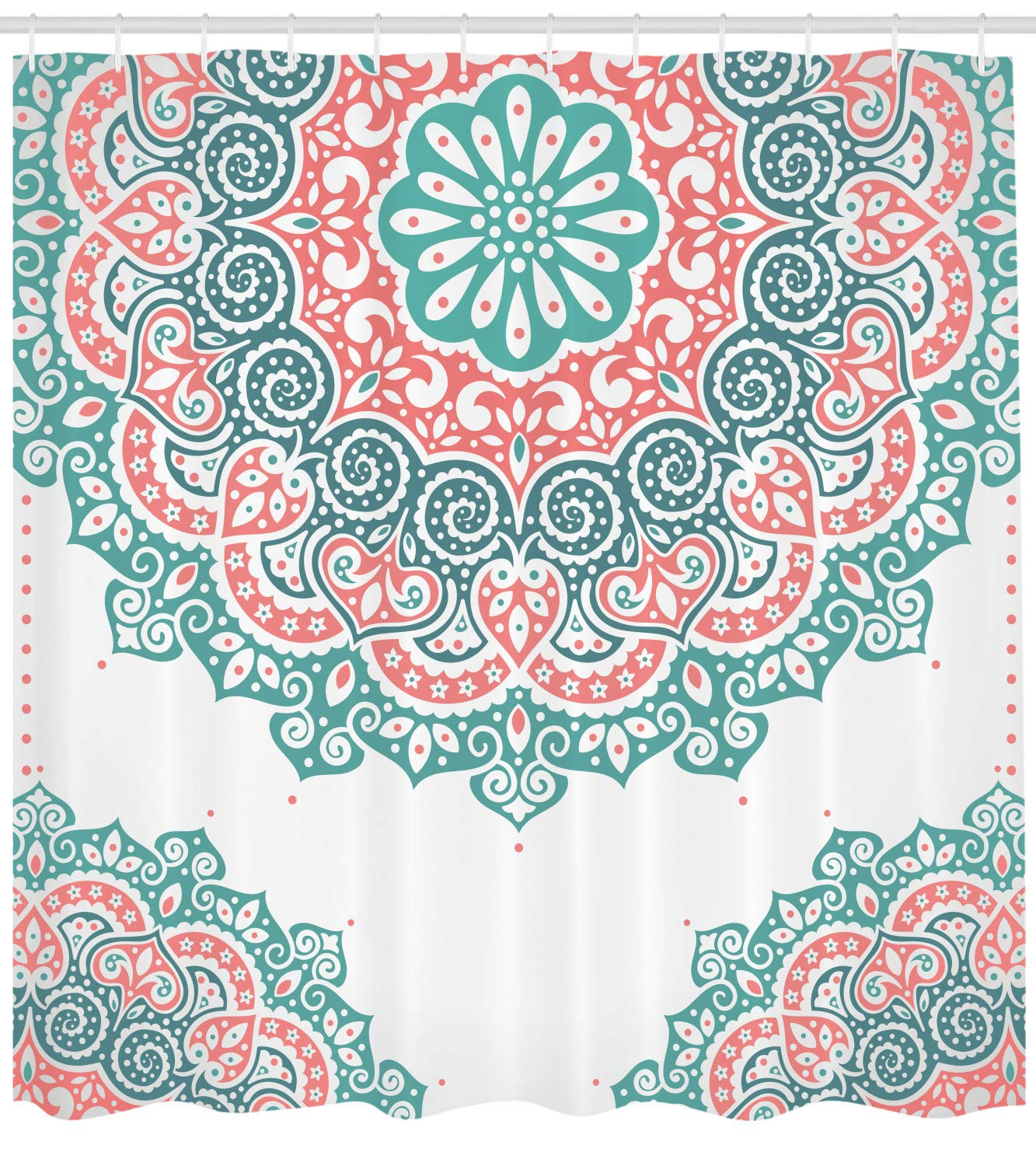 Ambesonne Henna Shower Curtain, Soft Colored Mandala South Asian Culture Inspired Ethnic Style Floral Image, Fabric Bathroom Decor Set with Hooks, 84 Inches Extra Long, Turquoise Coral