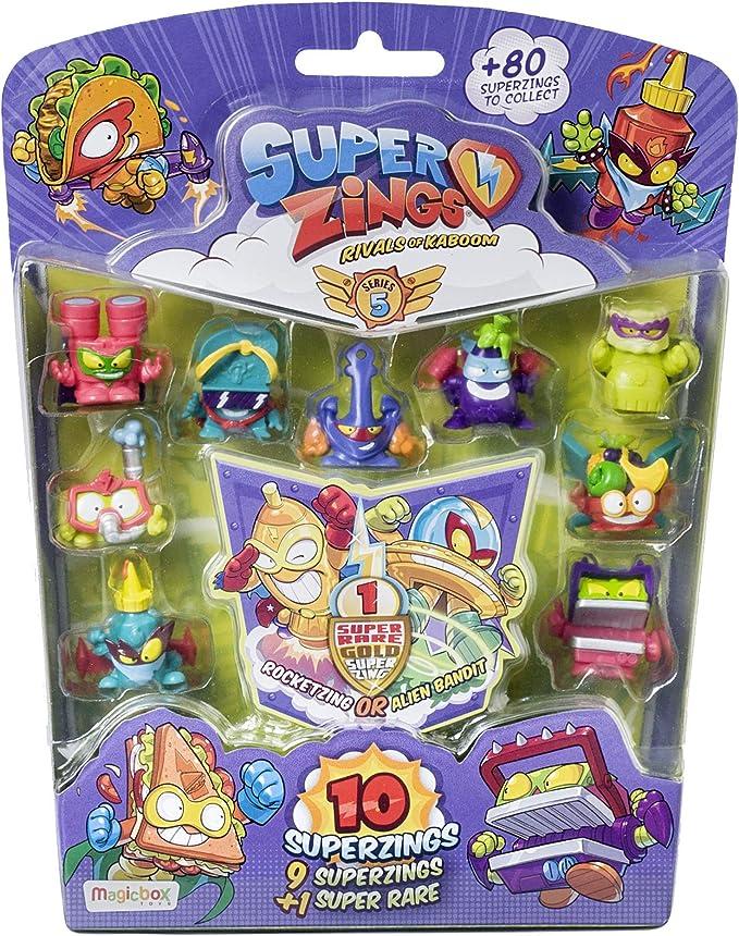 SuperZings - Serie 5 - Blíster con 10 figuras (PSZ5B016IN00), 9 Figuras SuperZings y 1 Figura Dorada Super Rare: Amazon.es: Juguetes y juegos