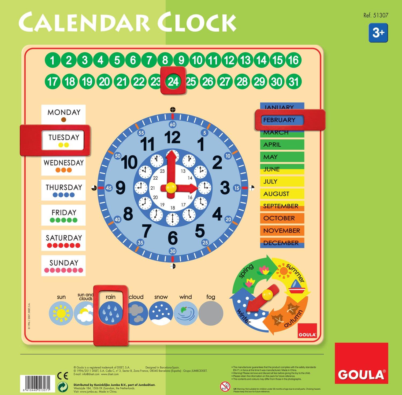 Date m/ét/éo et Saisons Gobus Horloge denseignement Jouet de d/éveloppement /éducatif Horloge num/érique en Bois pointeur pour Les Enfants /à Apprendre Calendrier Heure