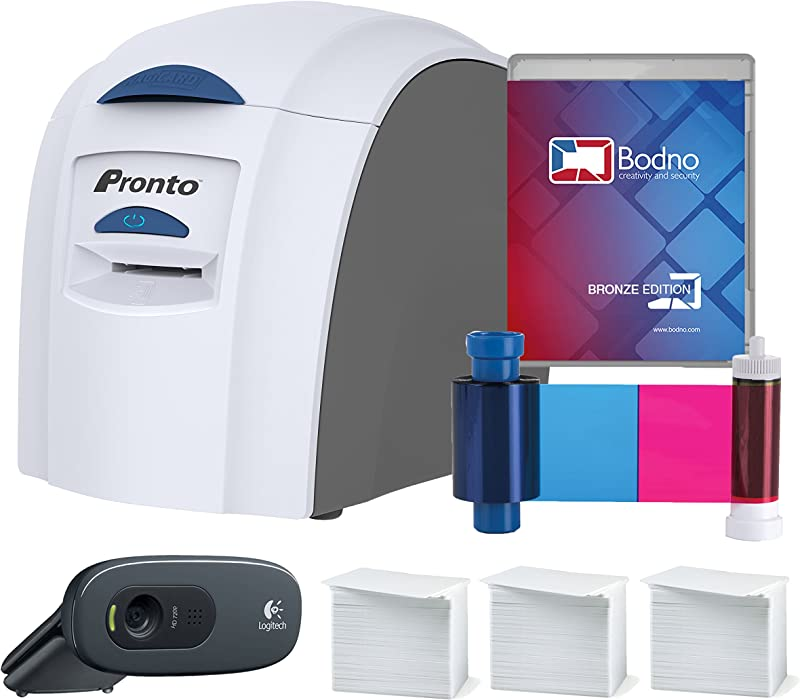Magicard Pronto ID Card Printer & Super Supplies Package with Bodno ID Software, Camera, 300 Cards and 300 Print Ribbon
