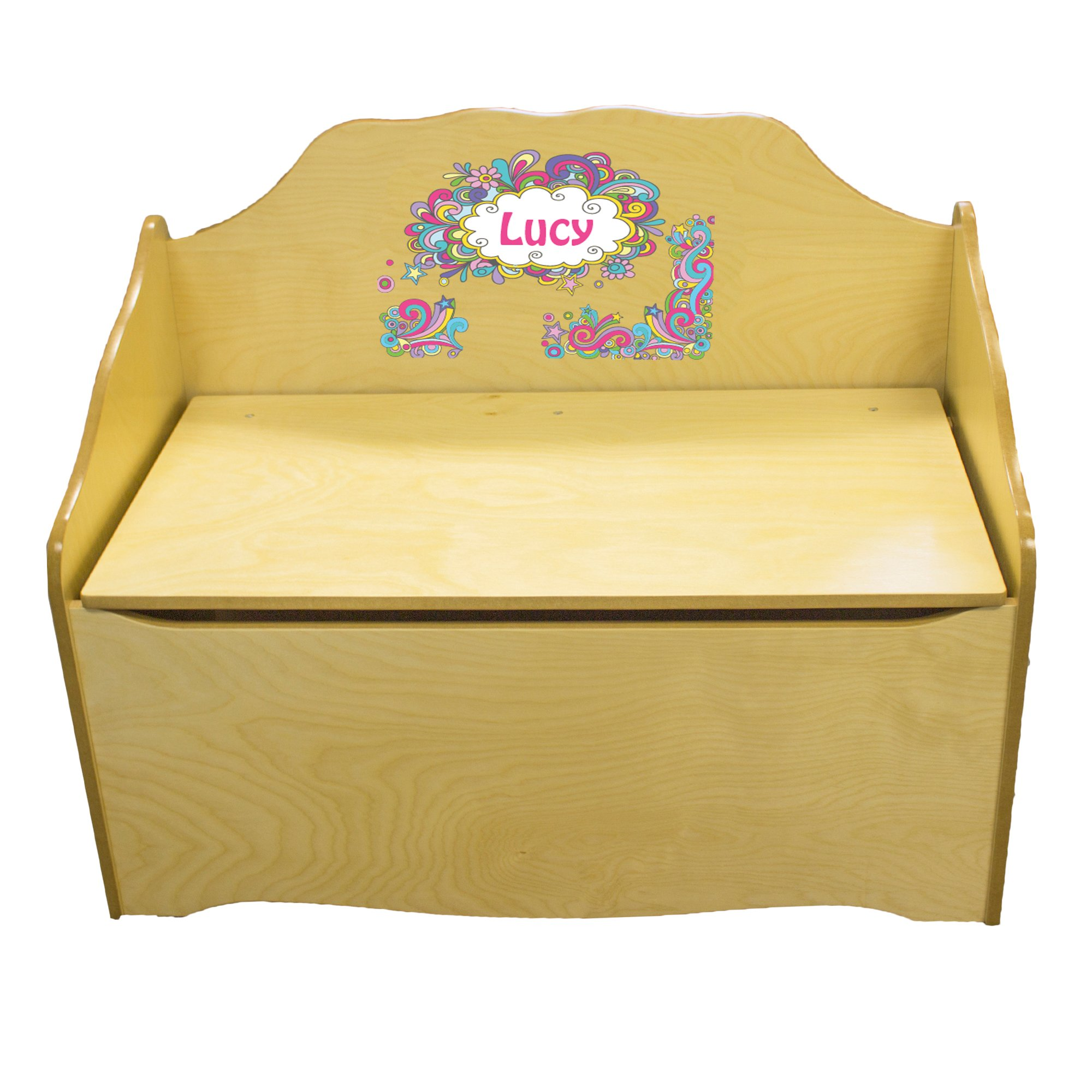 Personalized Groovy Swirl Childrens Natural Wooden Toy Chest