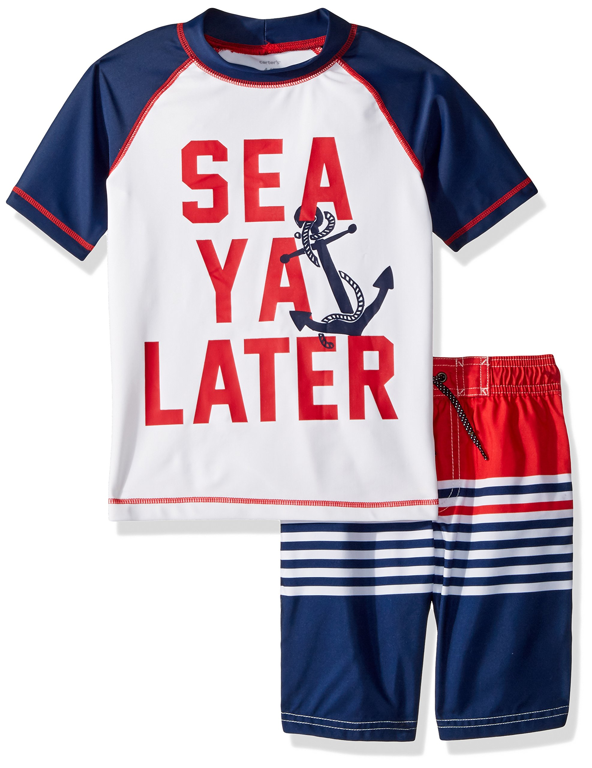Carter's Little Boys' Rashguard Swim Set, Navy See