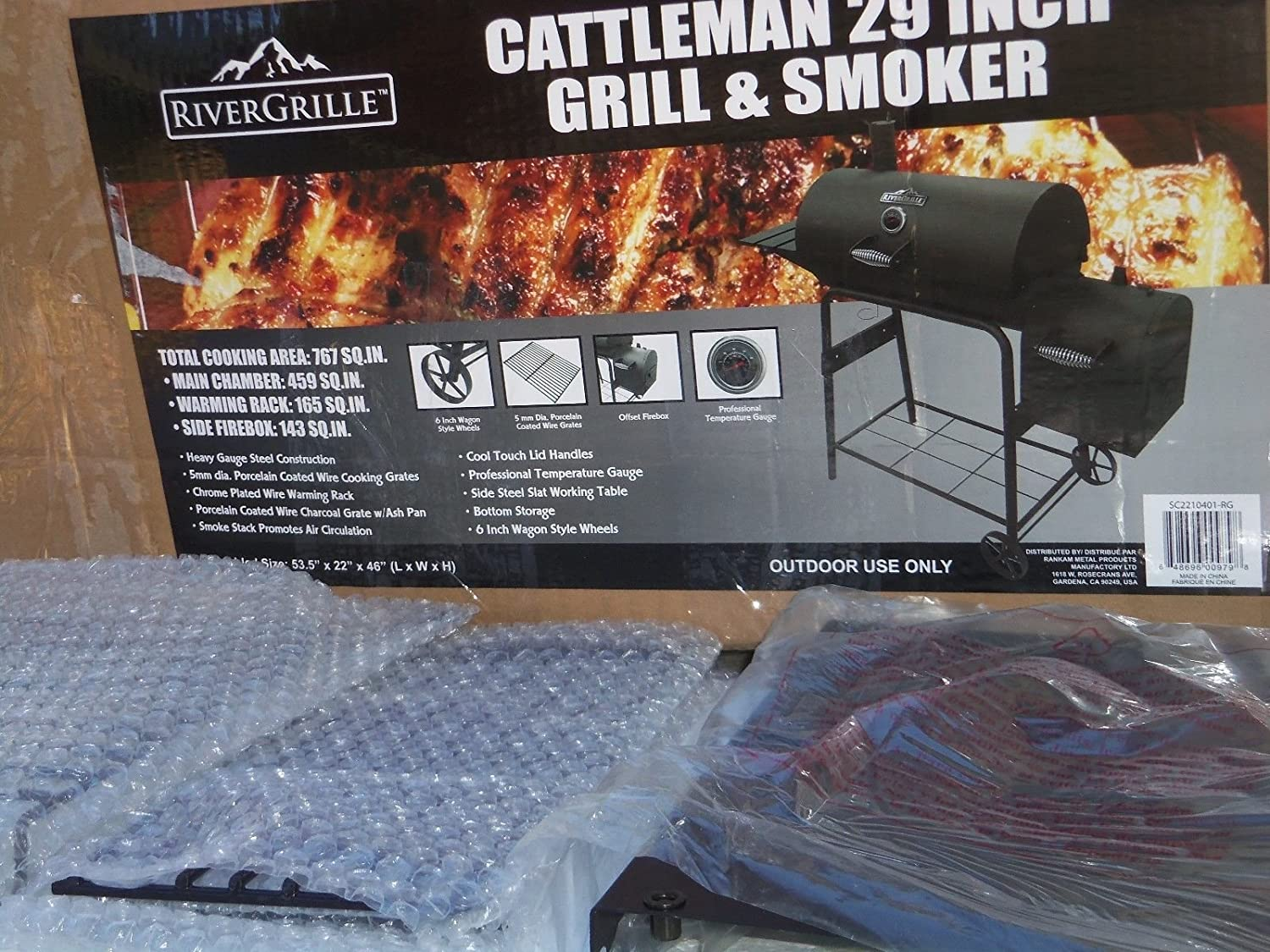 0f94f084a3a Amazon.com   RiverGrille Cattleman 29 in. Charcoal Grill and Smoker    Garden   Outdoor
