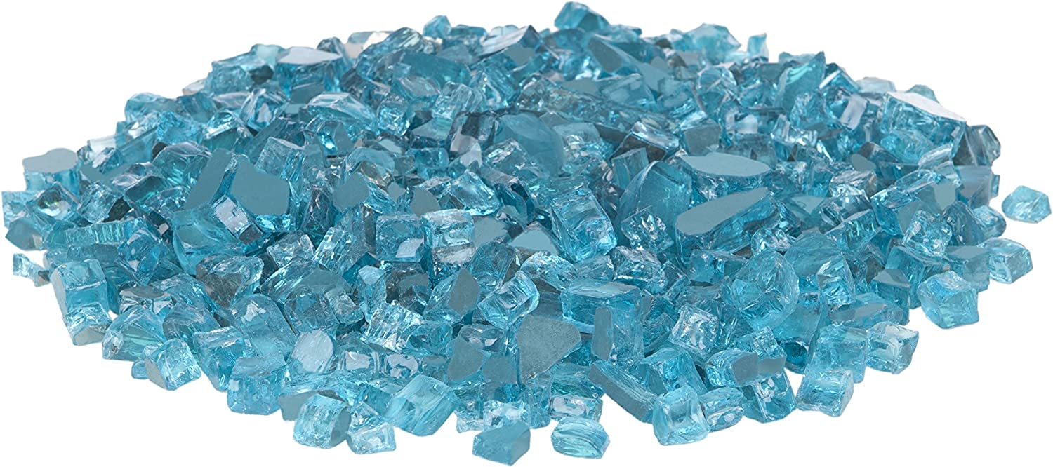 Fire Sense Fire Glass | Bahama Blue | Reflective and Tempered | Heat and Fade Resistant | 10 Pounds | | Half Inch Crushed Rocks with Plastic Container | Accessories for Gas Firepit, Outdoor