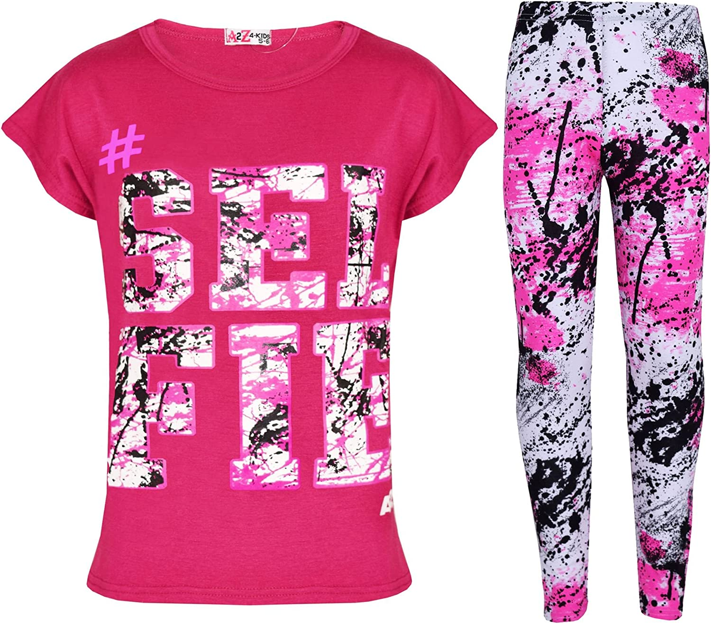 Kids Girls Top Love T Shirt /& Splash Print Fashion Legging Set Age 5-13 Years