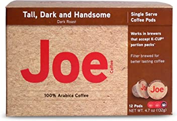 Joe Knows Coffee, Tall Dark and Handsome, Single Serve Coffee Pods, Rich, Bold Roast, 12 Count, Compatible with Keurig 2.0 Brewers