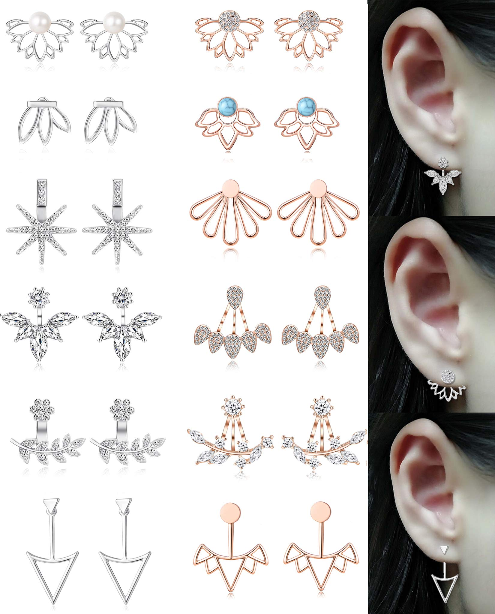 Tornito 12 Pairs Lotus Flower Earring Studs Chic CZ Earrings Jackets For Women Girls Silver Rose Gold Tone (A2:12 Pairs, Silver&Rose Gold Tone)