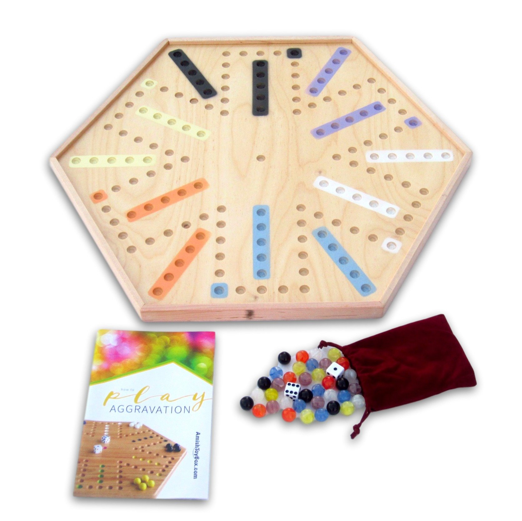 Amish-Made 23'' Wooden Aggravation (Wahoo) Marble Game Board, Double-sided