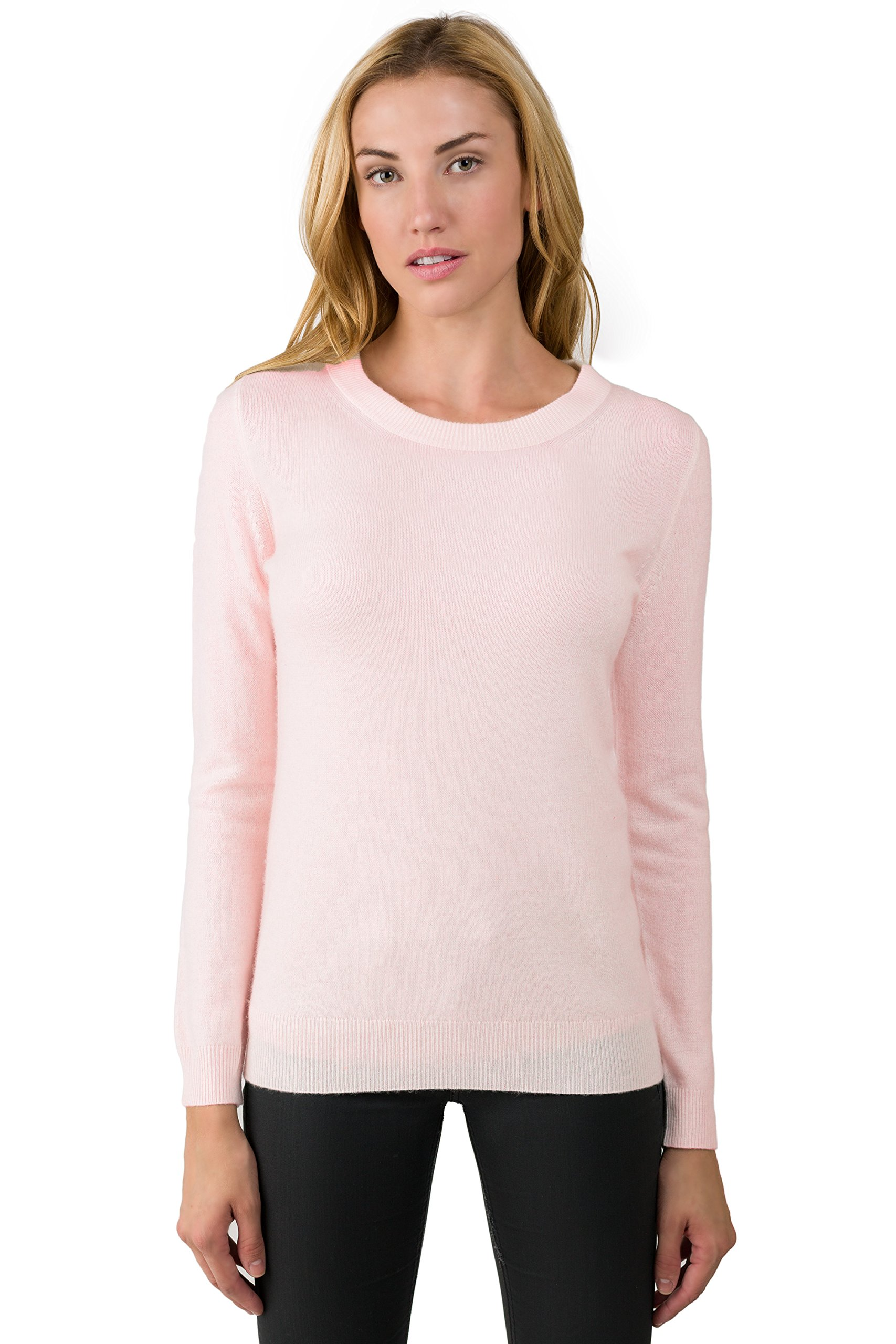 JENNIE LIU Women's 100% Pure Cashmere Long Sleeve Crew Neck Sweater (M, Petal pink)