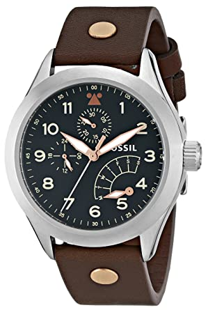 Fossil Mens CH2939 The Aeroflite Multifunction Leather Watch - Brown