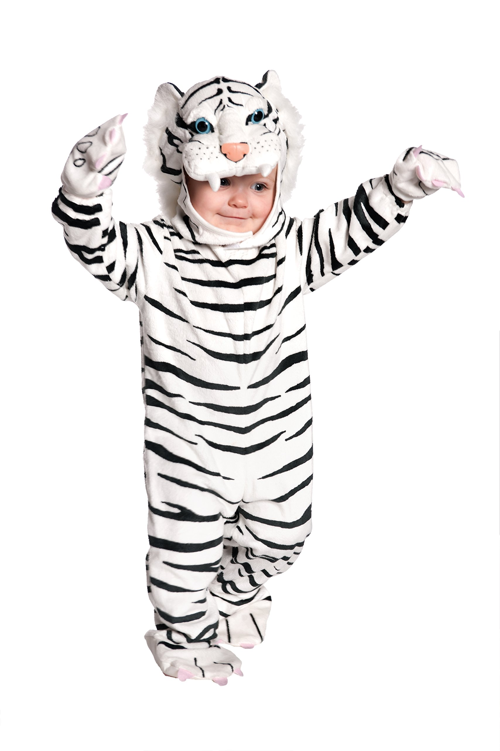 Underwraps Toddler's Tiger Costume Jumpsuit – White, Small (6-12 Months)