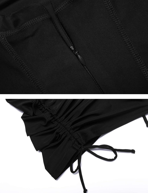 Sheshow Womens Rash Guard Sun Protection UV Surf Tops Long Sleeve Swim Shirt Zipper Adjustable