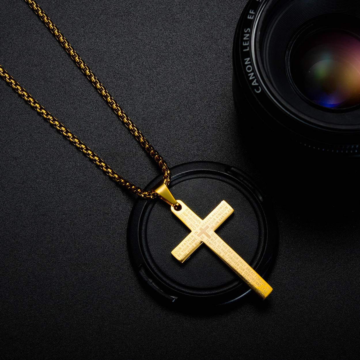 Rehoboth Stainless Steel Lords Prayer Cross Pendant Necklaces Bible Verse for Men or Women Chain 24 Inch Black Gold Silver
