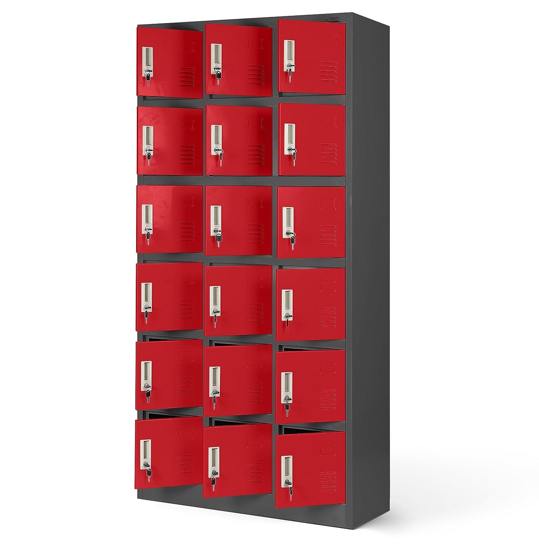 Casier vestiaire 3B6A armoire metallique 18 Compartiments revêtement en poudre 185 cm x 90 cm x 40 cm (anthracite/rouge)