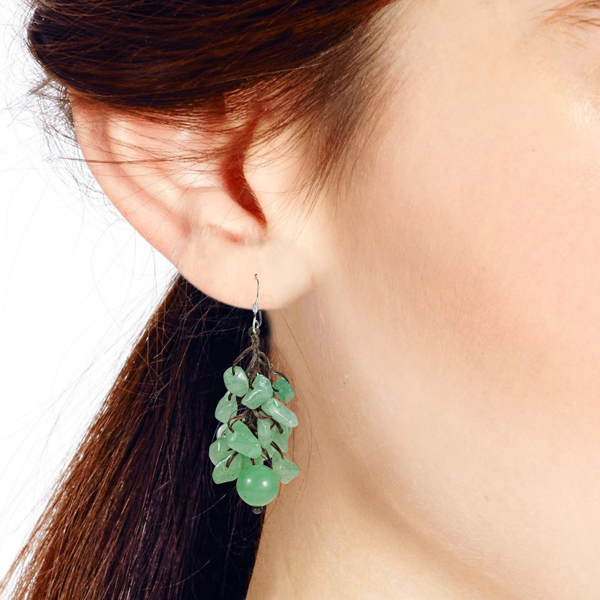 Dangle Cluster Ball Simulated Aventurine Sterling Silver Earrings by AeraVida (Image #4)