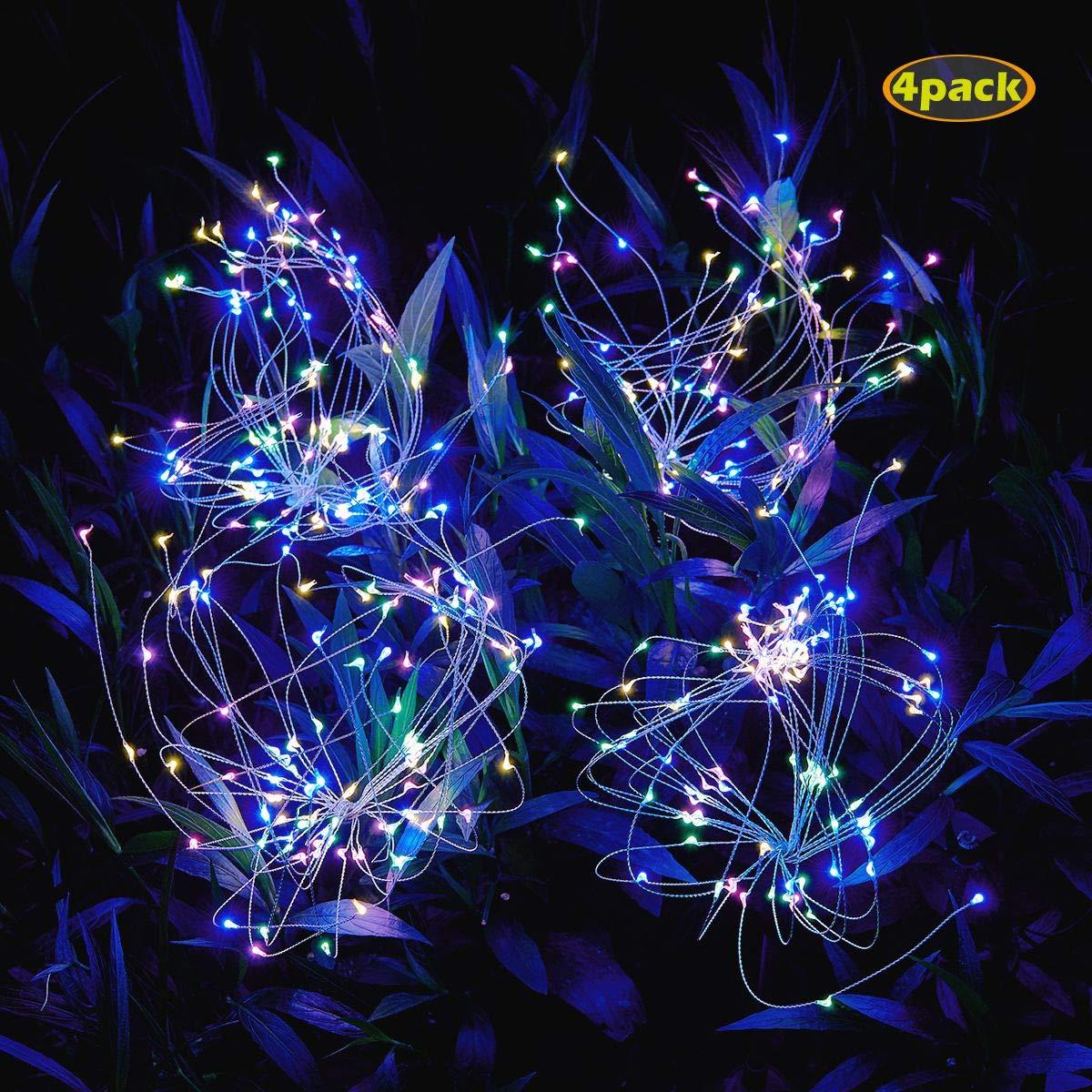 Amashop-Outdoor-Solar-Garden-Lights,105 LED Solar Powered Decorative Stake Landscape Light DIY Flowers Fireworks Stars for Walkway Pathway Backyard Christmas by Amashop