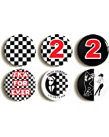 """6 x """"SKA TWO TONE"""" RETRO BADGES PINS BUTTONS (1inch/25mm diameter)"""