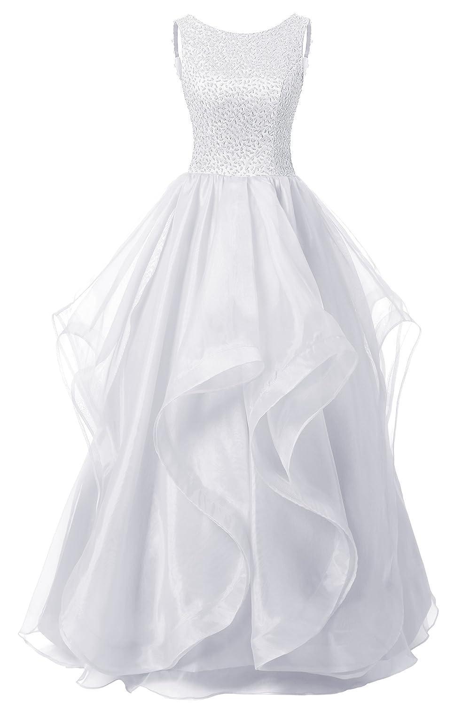 Dresstell(ドレステル) 発表会 演奏会ドレス ふわふわオーガンジ ビーズ付き オープンバック レディース B018NJR43U JP7|ホワイト ホワイト JP7