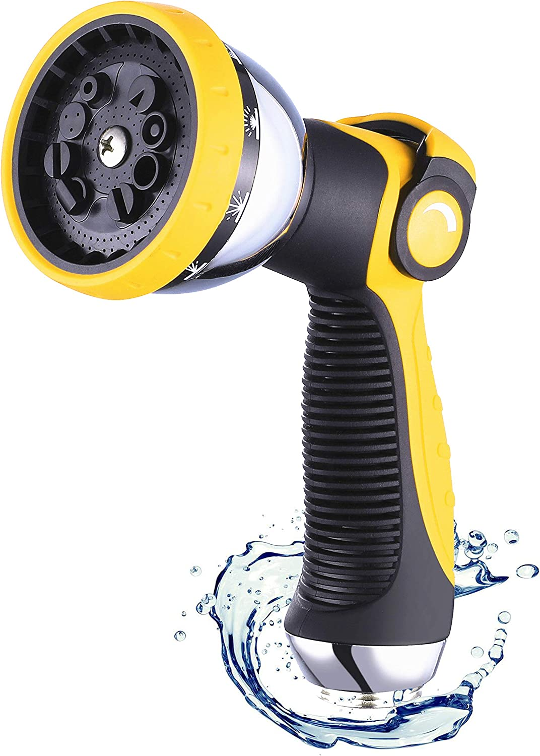 HOMY Garden Hose Nozzle, Heavy Duty and High Pressure Water Nozzle with 10 Spray Patterns, Thumb Switch Design, Easy Way to Control Water, For Watering , Car washing, Pet Washing, etc.