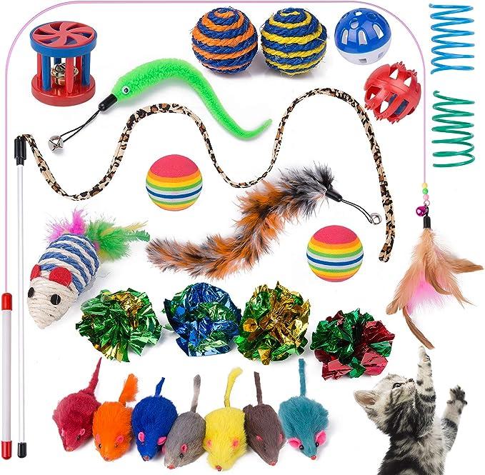 Yangbaga Juguetes para Gatos Juguetes Interactivo Ratón y Bolas Varias con Campanas y Plumas, Cabezas de Repuesto y Catnip Ball Incluido Gatito Gato (25pcs): Amazon.es: Productos para mascotas