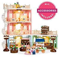 Best Choice Products Tiny Critter Deluxe Cottage Dollhouse Town Mansion Playset Gift Set Pretend Play Toy w/ 225 Accessories for Kids, Boys & Girls