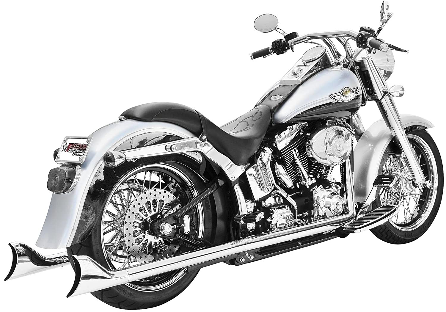 """Black 3/"""" Slip On Mufflers For Exhaust Pipes Chrome Tip 2000-2006 Harley Softail"""