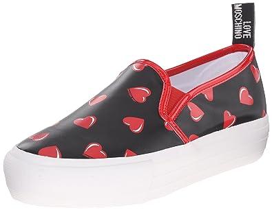 9112c014b37c Love Moschino Women s Slip on JA15024G11IG000A 40 Nero (cuori ...