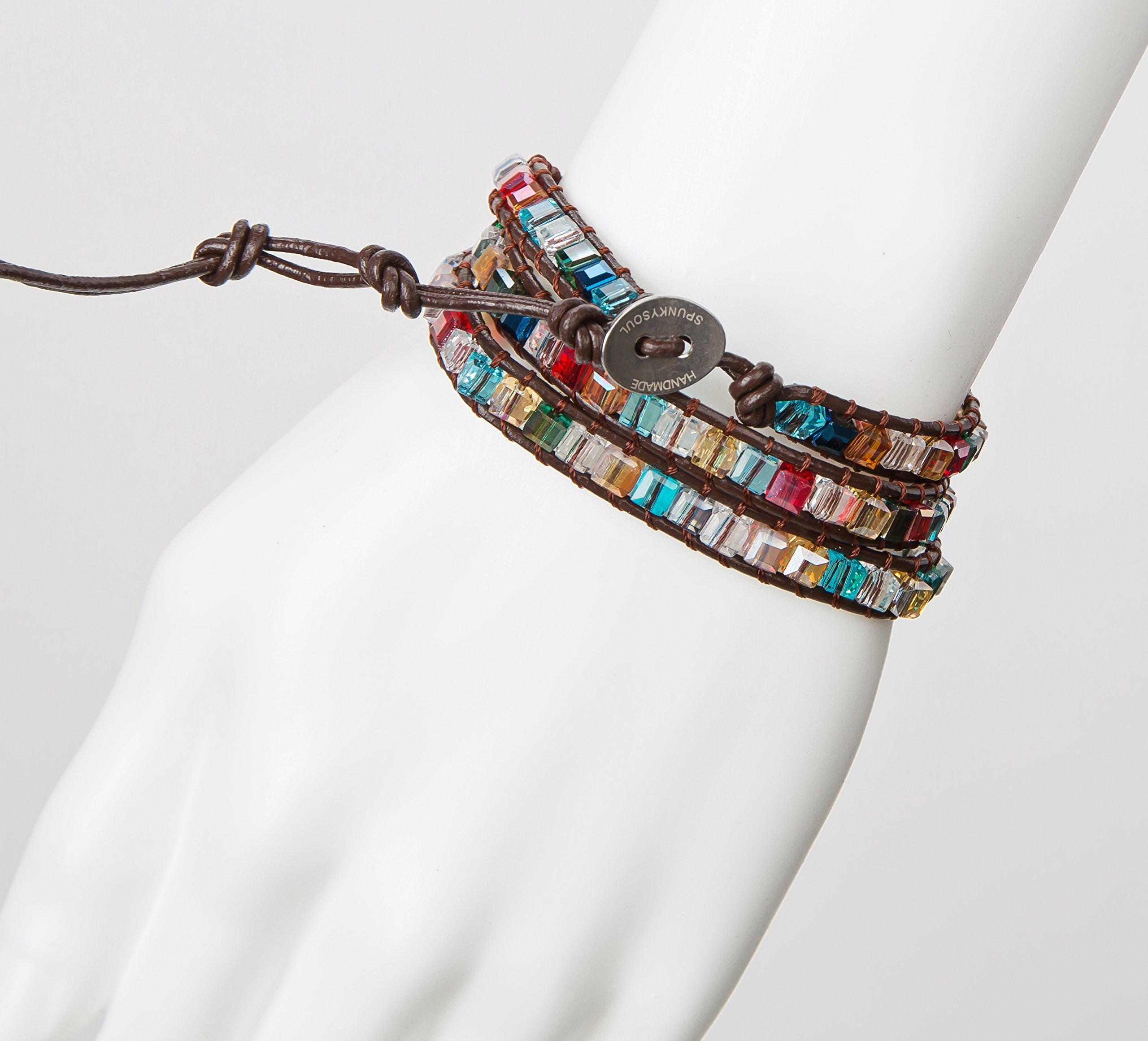 SPUNKYsoul 3 Wrap Dazzling Multi Color Crystal Leather Bracelet Collection by SPUNKYsoul (Image #7)