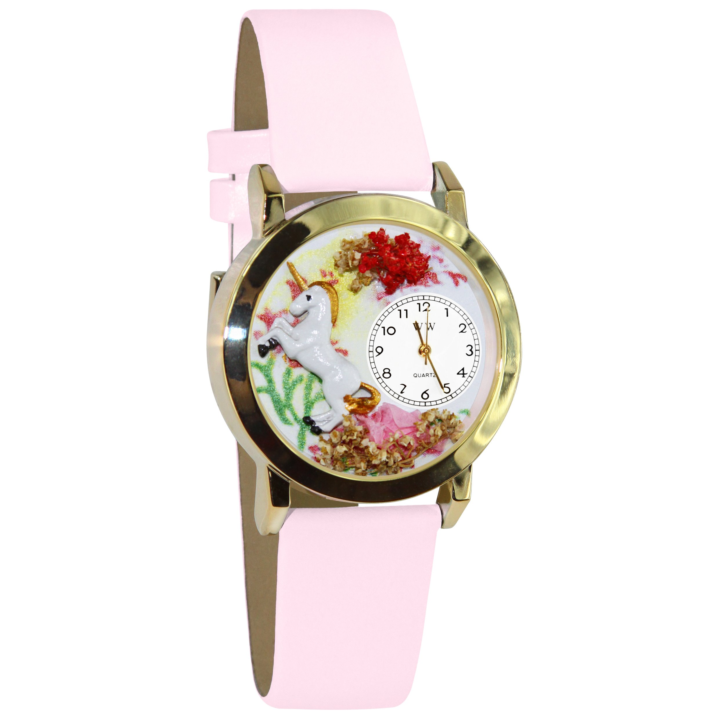 Whimsical Watches Kids' C0420001 Classic Gold Unicorn Pink Leather And Goldtone Watch