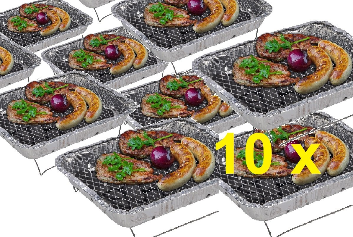 10 x Komplettset Einweggrill Edelstahl Grill Holzkohlegrill Klappgrill Gartengrill Picknickgrill MIT HOLZKOHLE - SCHNELL UND SICHER GRILLEN - Faltgrill