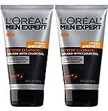 L'Oréal Paris Men Expert Hydra Energetic Limpiador de crema de carbón, 5 fl. oz., 0, 2 unidades
