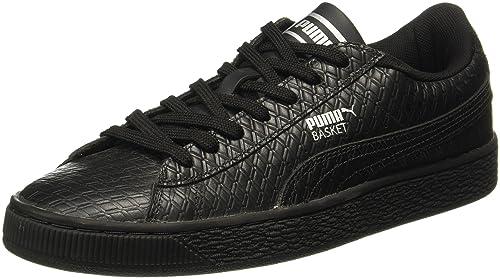more photos 43e32 98f19 Puma Men's Basket Classic B&W Idp Black Leather Sneakers ...