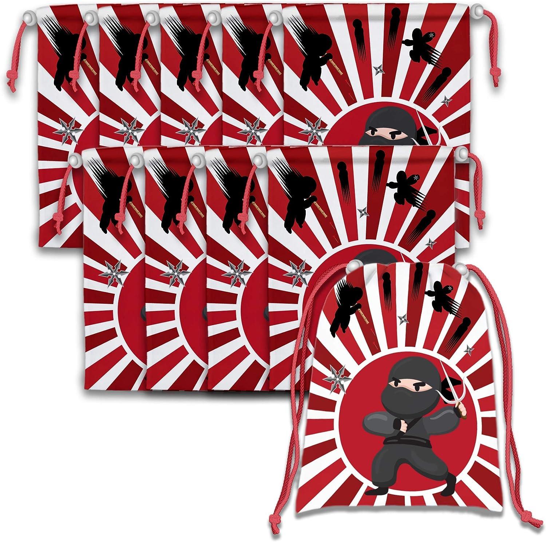 Ninja Warrior Drawstring Bags Kids Birthday Party Supplies Favor Bags 10 Pack