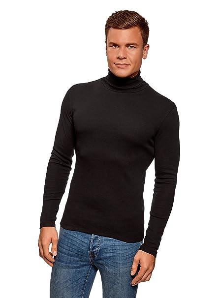 oodji Ultra Hombre Suéter de Cuello Alto Básico de Algodón mcTjo2uvW