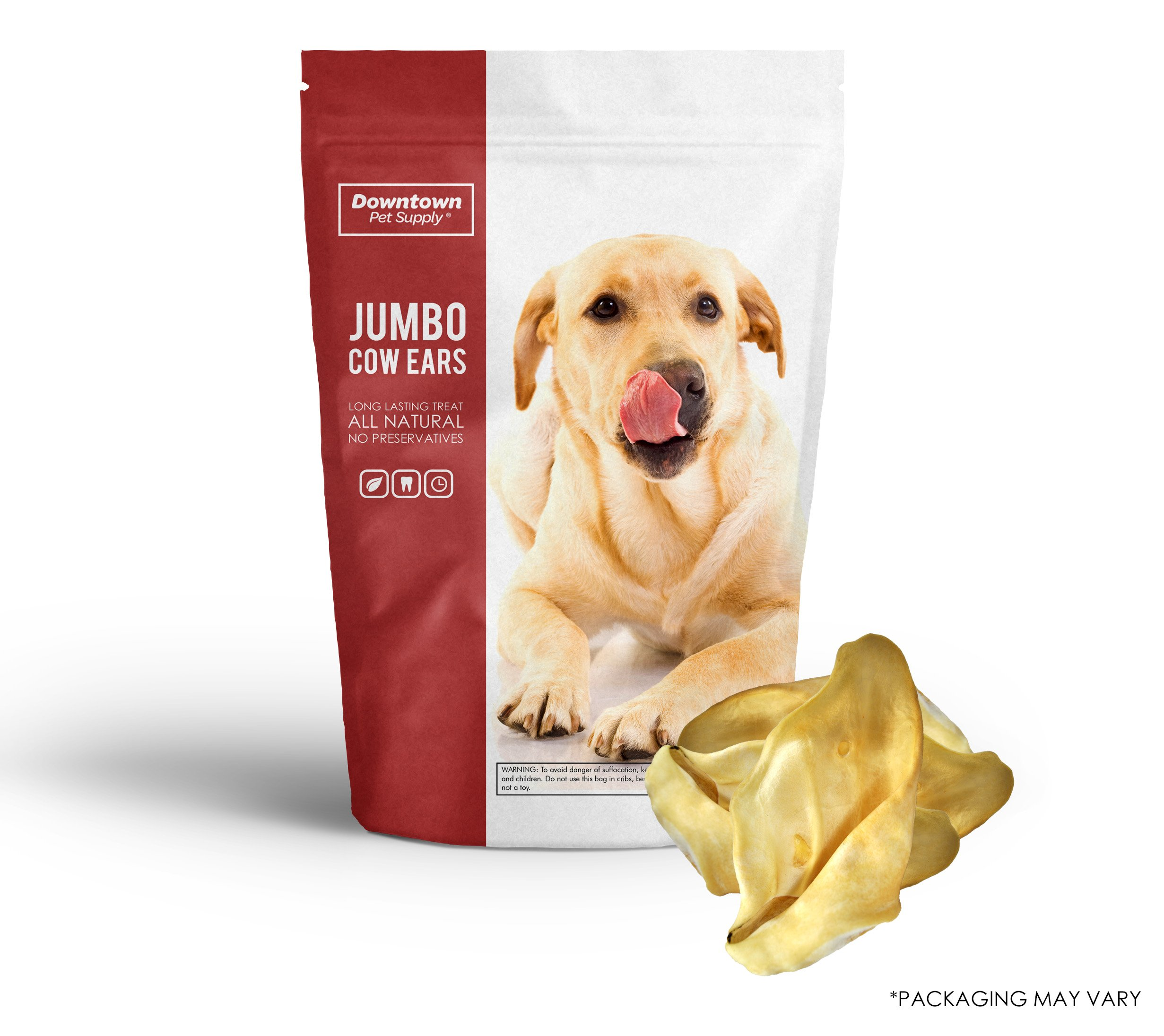 Downtown Pet Supply All Natural Jumbo Cow Ears for Dogs, Healthy Dog Treats Dental and Training Chews - Available in Bulk (25 Pack)
