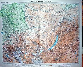 Carte Urss.Carte Couleur Urss 1959 Kuznetsk Irkoutsk Russie Chine Amazon Fr