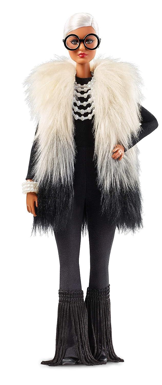 Barbie Collector Muñeca diseñada por Iris Apfel, look blanco y negro (Mattel FWJ27)