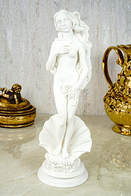Alabaster Aphrodite Selon Boticcelli Figurine sculpt/ée Blanc 25 cm