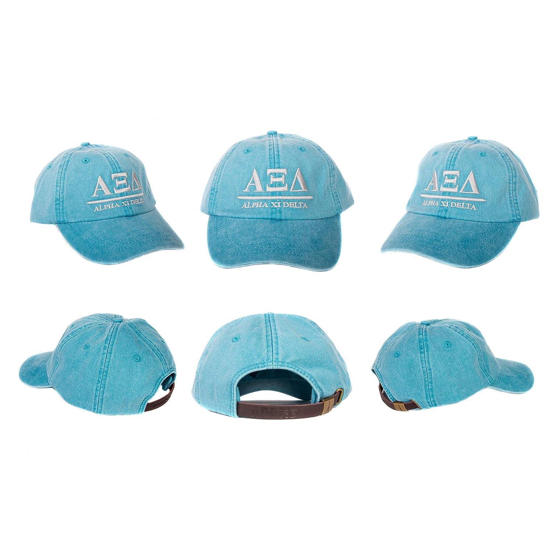 293be4eb1d4 Amazon.com  Alpha Xi Delta (B) Sorority Embroidered Baseball Hat Cap  Cursive Name Font Alpha zee (Bright Blue)  Clothing