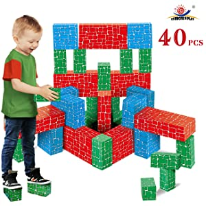 EXERCISE N PLAY Cardboard Building Block, 40pcs Extra-Thick Jumbo Giant Building Blocks in 3 Sizes for Kids
