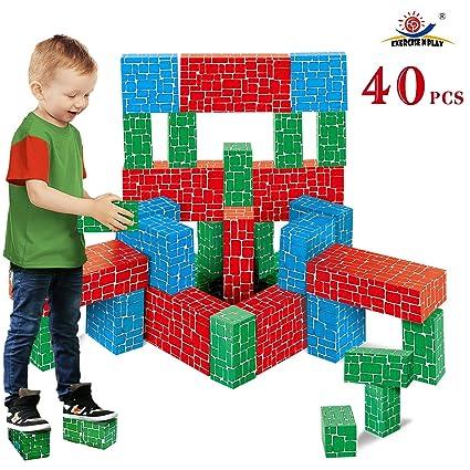 9732165a27ac Ejercicio N Play Bloque de construcción de cartón, 40 Piezas Extra Grueso  Jumbo Gigante Bloques