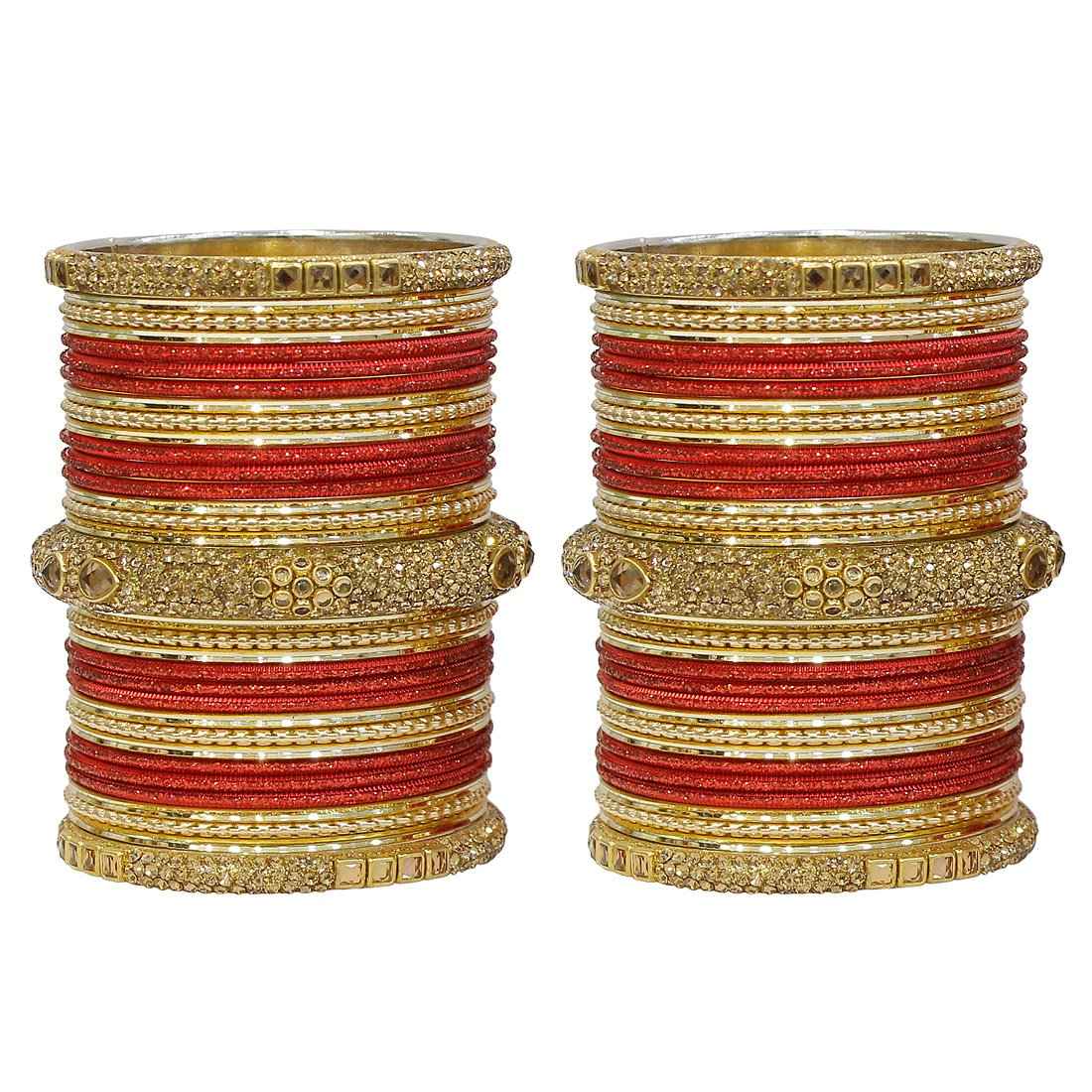 MUCH-MORE Marvelous 18 Pieces of Multicolor Bangles Set with Dashing Kade Traditional Indian Partywear Jewelry for Women /& Girls Red, 2.4