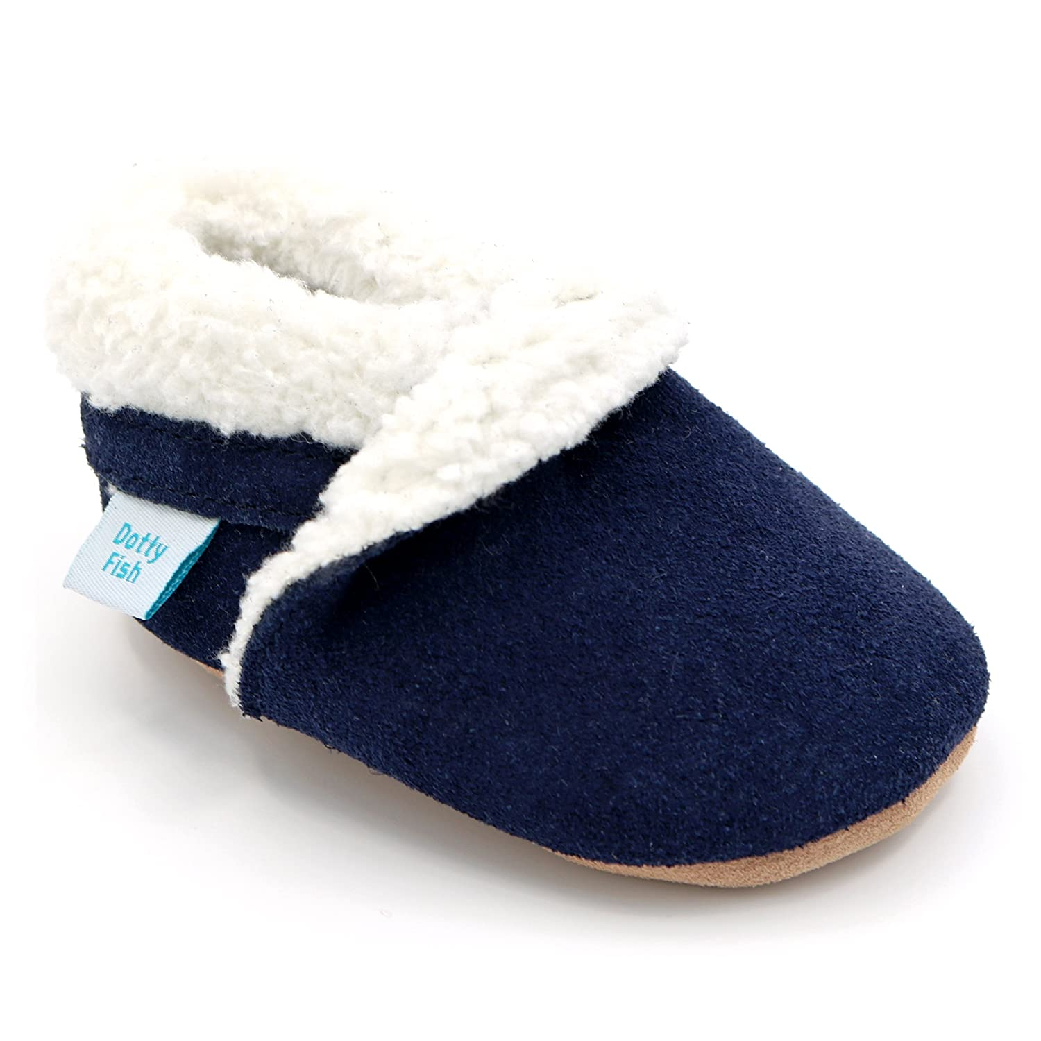 Dotty Fish Soft Leather Baby Suede Slippers with Fleece Lining US 11. US 3