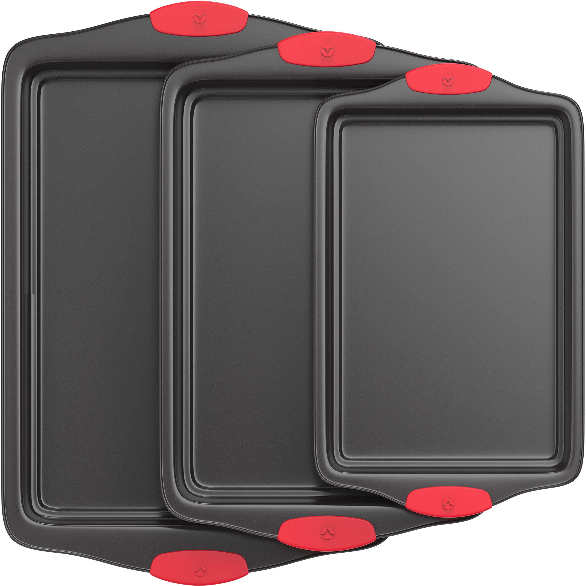 Vremi 3 Piece Nonstick Baking Sheets Set - Professional Non Stick Oven Tray Set for Baking - Non-Toxic Rimmed Carbon Steel Baking Pans Cookie Sheets with Wide BPA Free Red Silicone Handles by Vremi